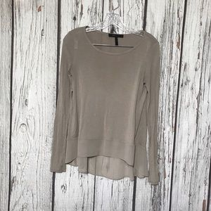 bcbgmaxazria tan long sleeve sheer shirt T116